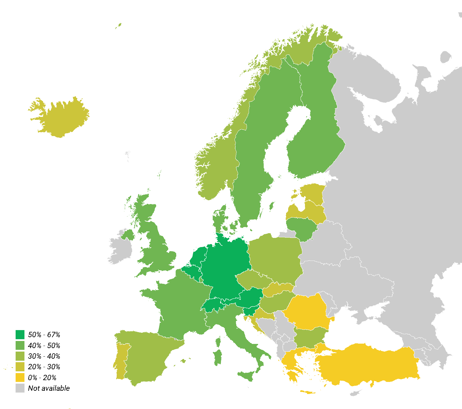 Recycling rate for municipal waste in the EU. % - 2017