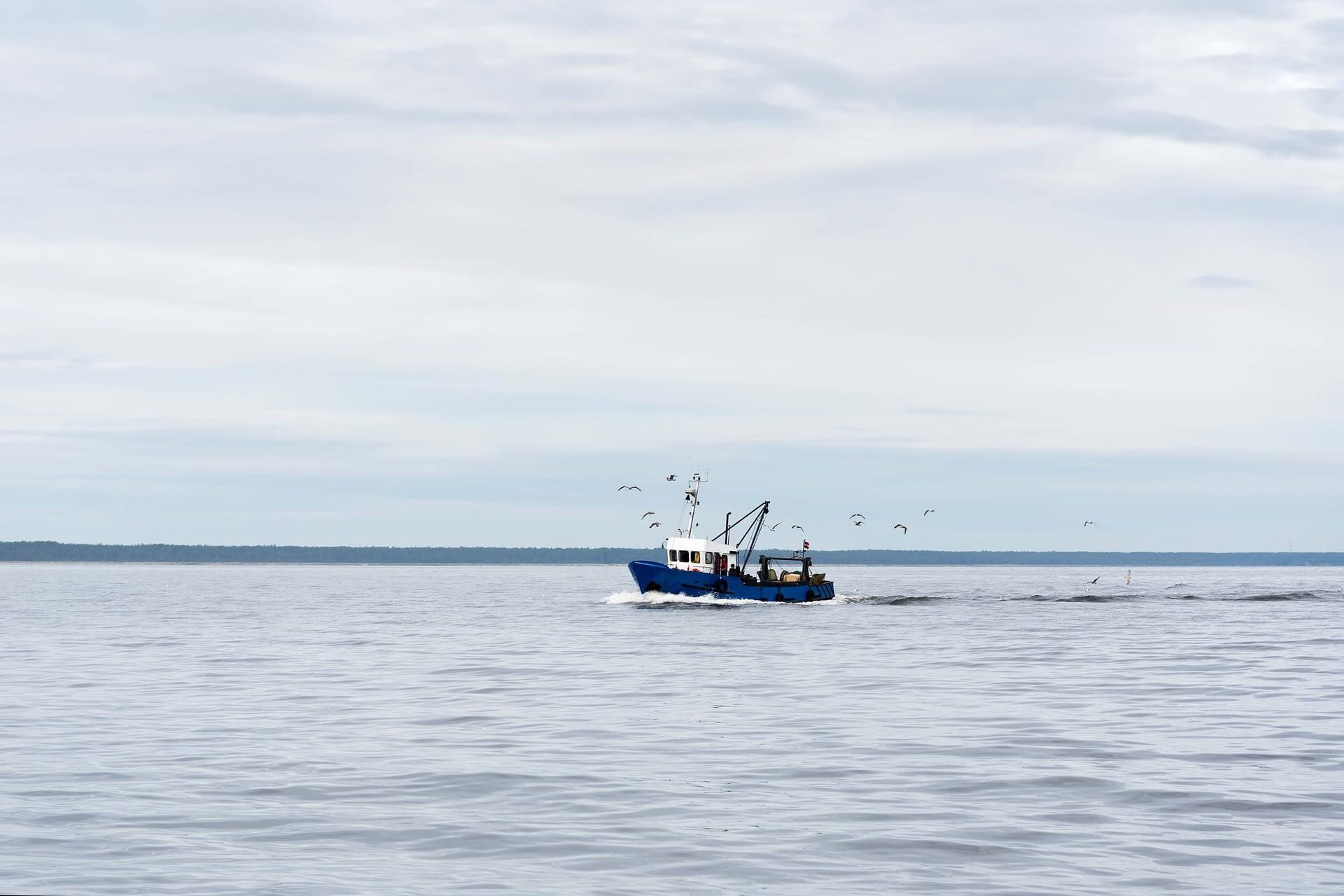 Fishing boat in gulf of Riga, Baltic sea.