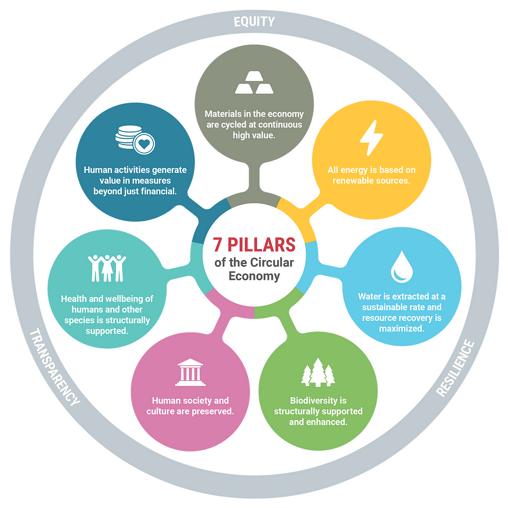 graphic of the 7 pillars of the circular economy, which allows a thorough evaluation of what is and is not circular.
