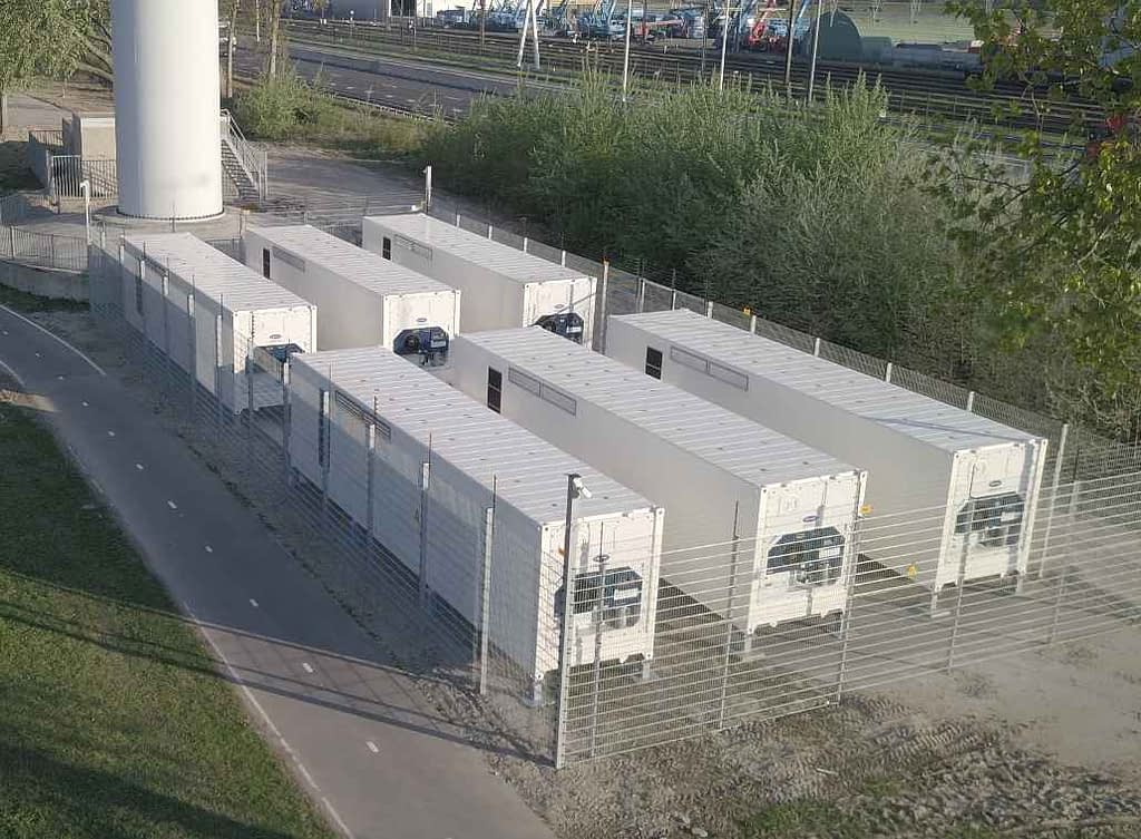 Batteries store excess energy from wind farms in the Netherlands