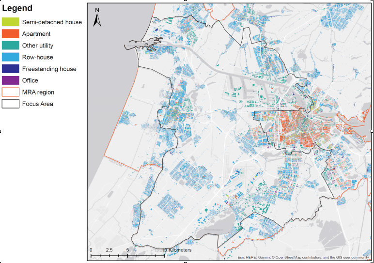 For urban mining processes, we classified six building classes in the Amsterdam region and calculated the occurrence and quantity of approximately 500 building elements.